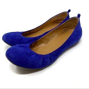 Audrey Brooke Blue Suede Ballerina Flats Size 9